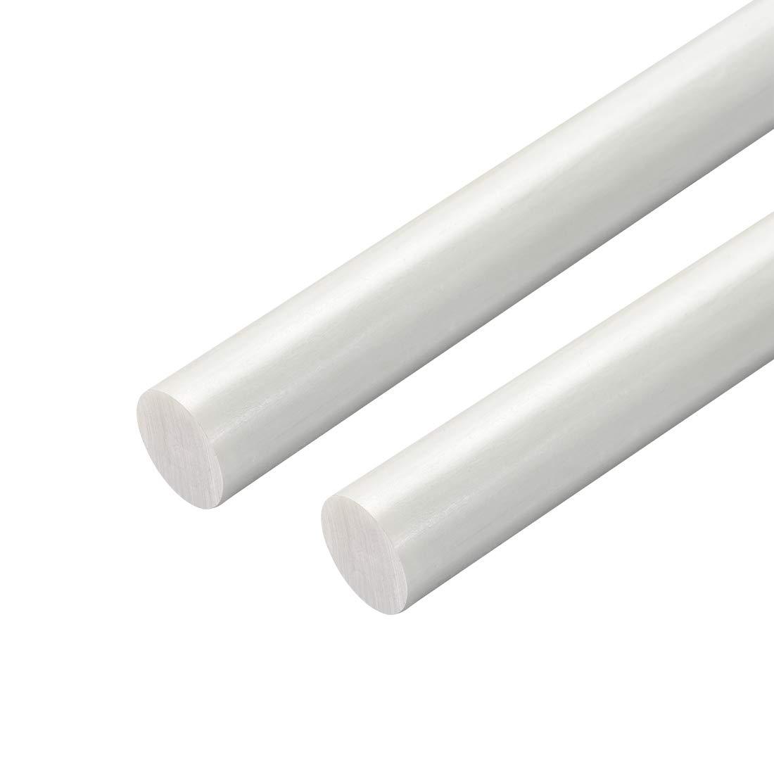 uxcell Plastic Round Rod,5//8 inch Dia 20 inch Length,White FRP Fiberglass Round Rod Engineering Plastic Bar 2pcs