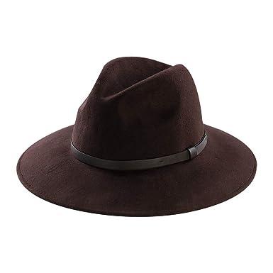 0d3b648f853 Wool Felt Hat,Wide Brim Fedora Hats Men Women Trilby Outback Cowboy Panama  Caps with