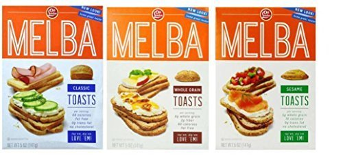 Old London Melba Toasts Crackers 3 Flavor Variety Bundle: (1) Classic Melba Toasts, (1) Whole Grain Melba Toasts, and (1) Sesame Melba Toasts, 5 Oz. Ea. (3 Boxes) - Melba Toast