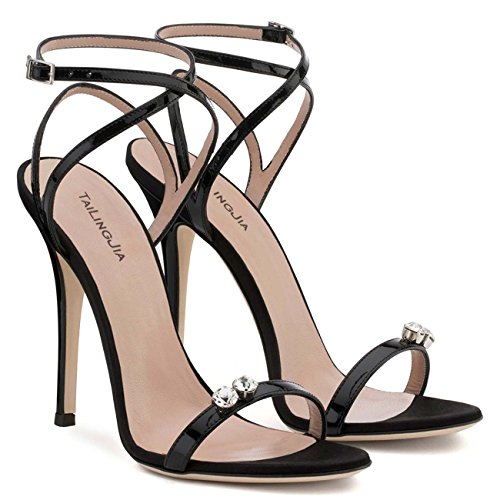 Mode À avec Talons Chaussures Black Dames Hauts Mot Chaussures Sandales Dîner De GONGFF Strass Noires q7BxYU