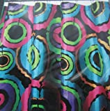 Hot Pink and Lime Green Shower Curtain Groovy Rounds Bright Circular Design in Aqua, Hot Pink, Lime Green, Orange & Purple On Solid Black Body
