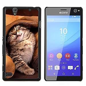 KLONGSHOP // Cubierta de piel con cierre a presión Shell trasero duro de goma Protección Caso - Gato del oído del perro lindo gatito Amigos dormir - Sony Xperia C4 //