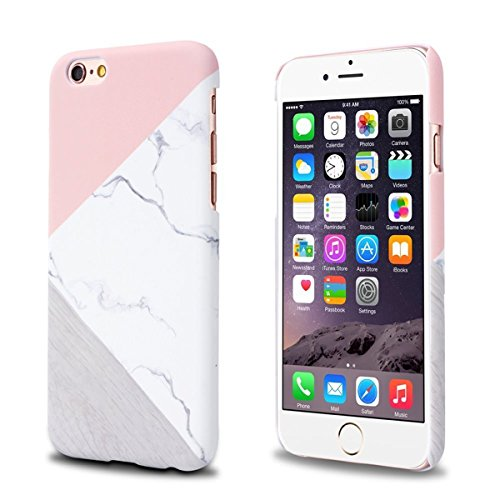 Marble Jewel - iPhone 8 Case, GIZEE Unique Marble iPhone 7 Case Pink Geometric Anti-Scratch & Fingerprint Shock Proof Thin Non Slip Matte Back Hard Protective Cover for iPhone 7/8 4.7 inch