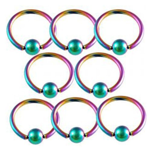 16g 16 gauge 3/8 Rainbow steel eyebrow lip ear tragus rings ball closure ring bcr captive bead bar AFKC Piercing 8Pcs
