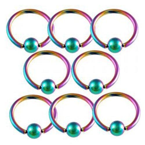 - 16g 16 gauge 3/8 Rainbow steel eyebrow lip ear tragus rings ball closure ring bcr captive bead bar AFKC Piercing 8Pcs