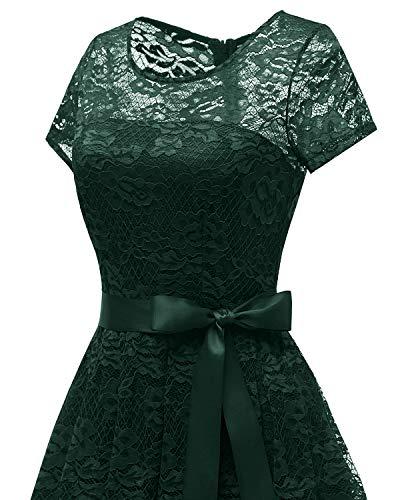 Oscuro Vestido Opaco Manga Mujeres de Encaje Honor de Corta Verde Dama Bridesmay de Semi Escote Plisado Floral naCxUqvSv