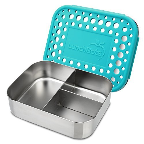 (LunchBots Medium Trio II Snack Container - Divided Stainless Steel Food Container - Three Sections for Snacks On the Go - Eco-Friendly, Dishwasher Safe, BPA-Free - Stainless Lid - Aqua Dots)