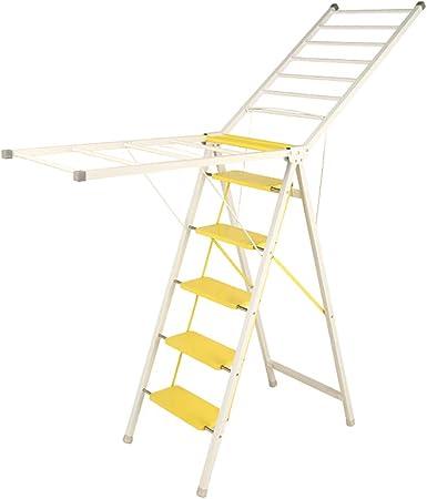 Tendedero plegable con escalera multifunción, tendedero de doble uso, grueso, balcón, suelo plegable, interior y exterior c: Amazon.es: Hogar