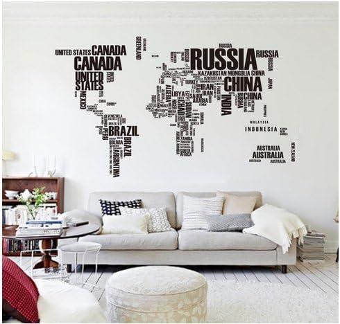 Zooarts Letras Negras Mapa del Mundo Extraíble de Pared Adhesivo Vinilo Adhesivos Decor Home Living Dormitorio Mural: Amazon.es: Hogar