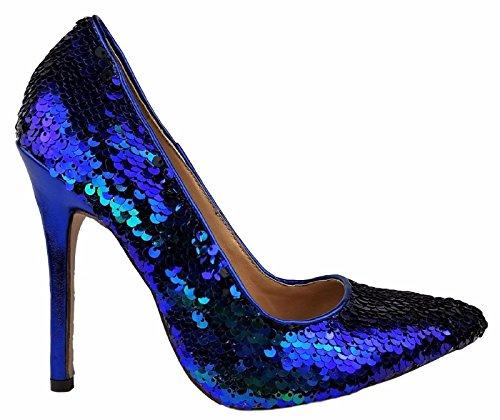 C&C Lala-18 Pointed Pointy Toe Sequin Sparkle Slip On Stiletto High Heel Pump Mermaid 11