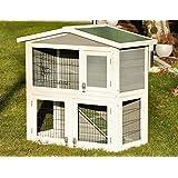 """nanook clapier cage lapin en bois """"Flocon"""" 2 étages - jolies couleurs - blanc vert - Taille L 100 x 100 cm"""