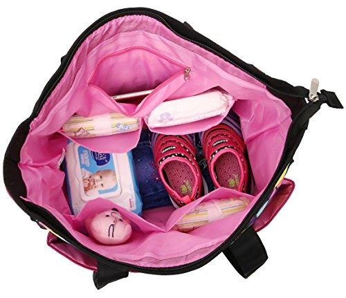 Bolso cambiador de pañales con accesorios negro gris rosa