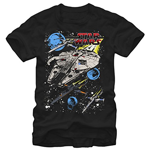 Star Wars Men's The Force Awakens Blue Squad Colorful Space T-Shirt,Black,Small