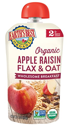 Earth's Best Organic Stage 2, Apple & Raisin Breakfast, 4 Ounce Pouch (Pack of 12) (Packaging May Vary)