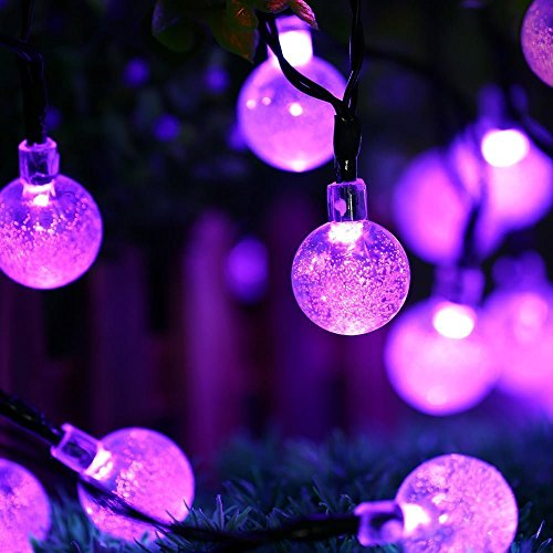Halloween Lights - Icicle Halloween Solar String Lights, 20ft 30 LED Waterproof Outdoor Globe Halloween Lighting for Home, Patio, Lawn, Garden Decorations (Purple)