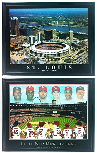 St. Louis Cardinals Busch Stadium Framed Aerial Photo and Little Cardinals Legends Framed Lithograph Set of 2 LL6005