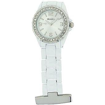 Henley Nurses Doctors Diamante Crystal Pocket Fob Watch White HF014