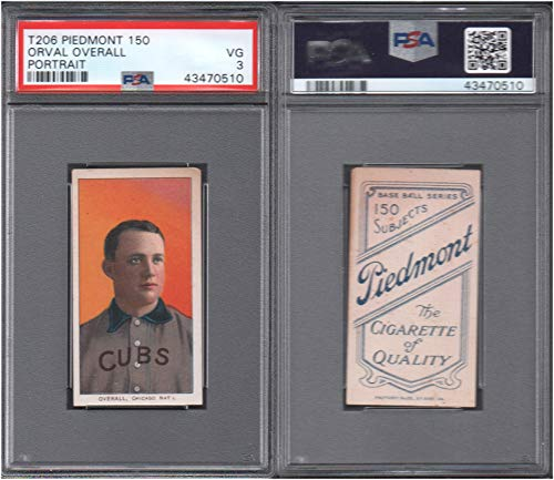 1909 t206 tobacco (baseball) card#365 psa orval overall (por) (psa) of the Chicago Cubs Grade Very Good