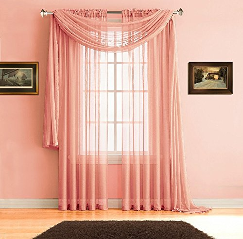 Warm Home Designs Pair of Premium 54 x 84 Inch Sheer Coral Pink (Light Orange) Faux-Linen Rod Pocket Curtains. Total Width of These Drape Panels is 108