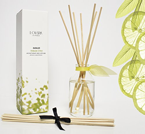 LOVSPA Sparkling Citrus Scented Sticks Reed Diffuser Set | Energize | A Spring Scent Bright Lemons & Fresh Greens | Citrus, Sage & Sandalwood | Best Birthday Gift ()