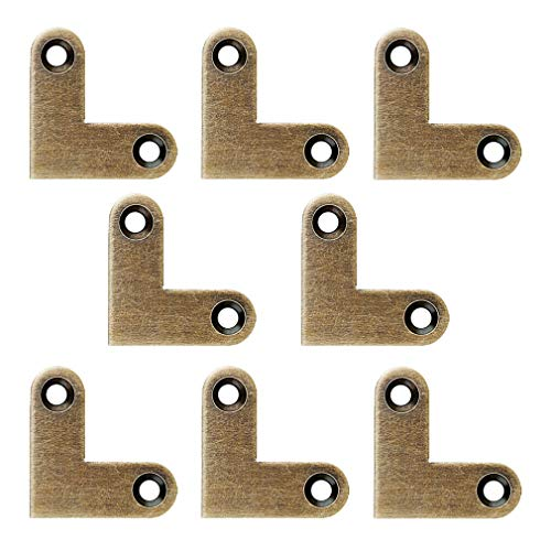 Tiazza 8Pcs Antique L Shape Brass Flat Corner Bracket Joint Flat Corner Brace Plate Support Drawer Fixed Corner Code (Antique Bronze)