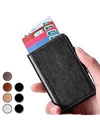 Brooben Credit Card Holder RFID Slim Leather Wallet Auto Pop-up Black