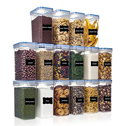 Airtight Food Storage Containers with Lids 16pcs Set 2L/1.8qt, PantryStar Air Tight Flour Sugar and Cereal Containers…