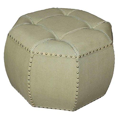 International Caravan 52B-12B038-SG-IC Furniture Piece Rustic Elegance 27-inch Octagonal Sage Button Tuffed Ottoman