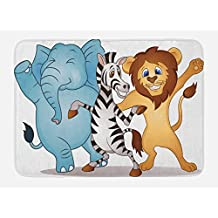 Animal Bath Mat by Lunarable, Cute Dancing African Zebra Lion Elephant Party in Savannah Safari Cartoon Print, Plush Bathroom Decor Mat with Non Slip Backing, 29.5 W X 17.5 W Inches, Multicolor