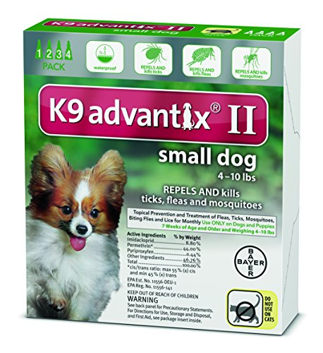Advantix Flea And Tick Control For Dogs Under 10 Lbs 4 Month Supply (Advantix Pack Green 4)