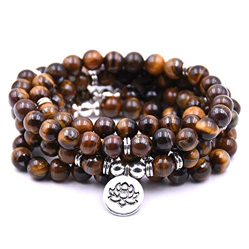 (Self-Discovery 108 Natural Beads Mala Yoga Bracelet with Lotus Charm (Brown Tiger Eye))