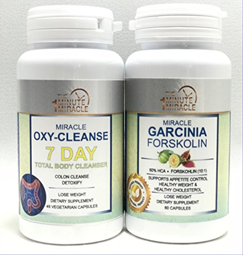 Weight Lose Combo - Miracle OXY Cleanse 7 Day Total Body Cleanser and Garcinia FORSKOLIN