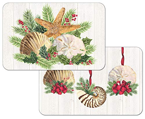 Highland Home Counterart Reversible Set of 4 Wipe Clean Placemats Christmas by The Sea (A Highland Home)