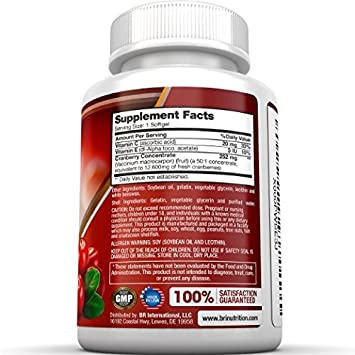 BRI Nutrition 3x Strength 12,600mg CranGel Power Plus High Potency, Maximum Strength Cranberry SoftGel Capsules Fortified with Vitamins C and Natural E – 90 Softgels