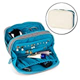 Travel Jewelry Organizer Bag Case Waterproof Canvas Velvet Fabric With Zipper for Necklace Bracelet Earrings Ring (Natural)