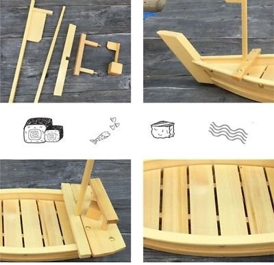 EatingBiting(R) 19inch 50cm Japanese high grade Durable Wooden Sushi Boat Serving Tray Restaurant Kitchen Tools Gadgets Dining impress your dinner guests resentation of your delicacies