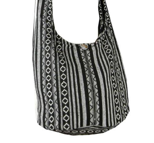 BTP! Thai Cotton Sling Bag Purse Crossbody Messenger Hippie Hobo Hand Woven Ikat (Black (Hand Woven Bag)