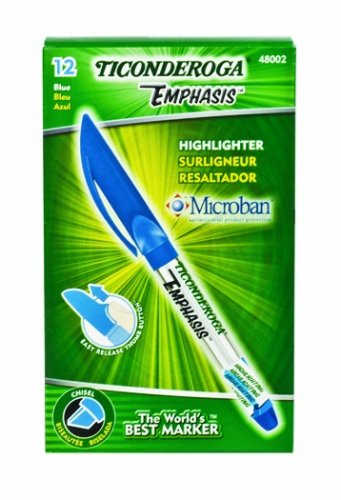 Ticonderoga Emphasis Fluorescent Highlighters, Pocket Style with Clip, Chisel Tip, Blue, One Dozen (48002) Dixon Fluorescent Highlighter