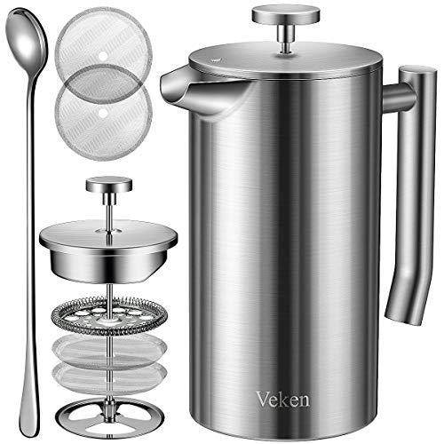 Veken French Press Double-Wall 18/10 Stainless Steel Coffee & Tea Maker, Multi-Screen System, 2 Extra Filters Included…