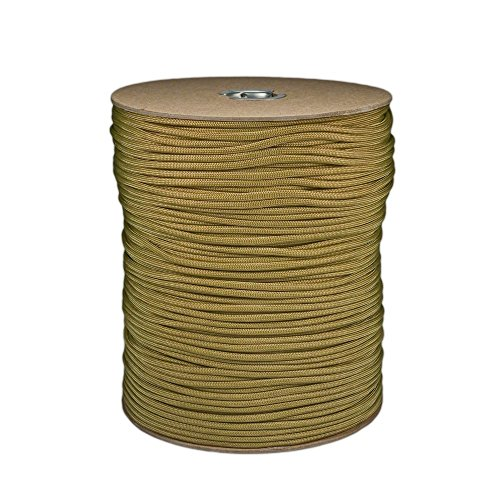 - SGT KNOTS Paracord 550 Type III 7 Strand - 100% Nylon Core and Shell 550 lb Tensile Strength Utility Parachute Cord for Crafting, Tie-Downs, Camping, Handle Wraps (4mm - 1000 ft - Gold)