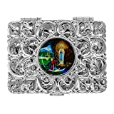 Silver Lourdes Rosary Box Depicting the Apparitions - Catholic Gifts + Lourdes Prayer Card