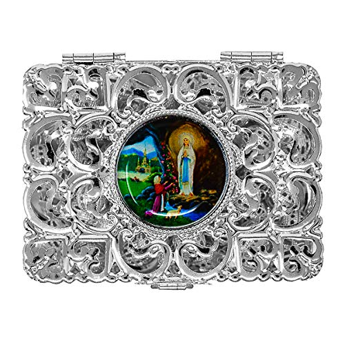 Silver Lourdes Rosary Box Depicting the Apparitions - Catholic Gifts + Lourdes Prayer ()