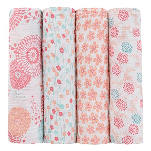 Garden Stroller Blanket - aden + anais Tea Collection Swaddle Baby Blanket, 100% Cotton Muslin, Large 47 X 47 inch, 4 Pack, Global Garden
