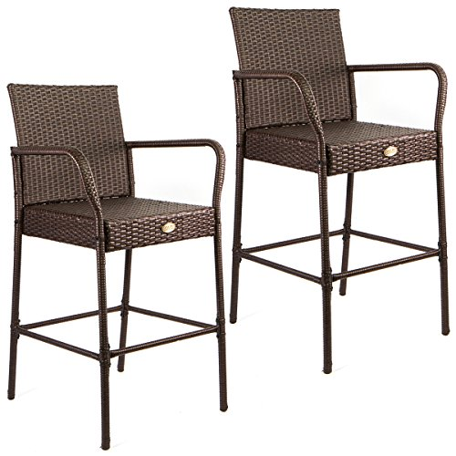 Barton Outdoor Patio Rattan Barstools, Set of 2 2 Rattan Bar Stools