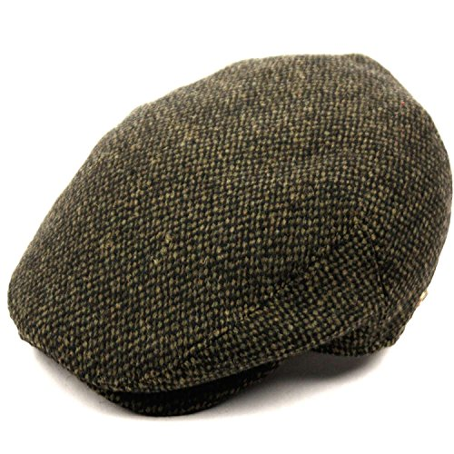 Men's Premium Wool Blend Tweed Flat IVY newsboy Collection Hat,Olive Tweed,Medium