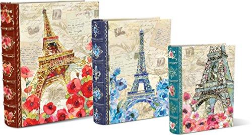 Punch Studio Paris Sparkle Set Of 3 Large Nesting Book Boxes