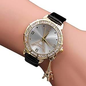 Yoyorule Women Quartz Wrist The Eiffel Tower Rhinestone pendant Wrist Watch (Black)