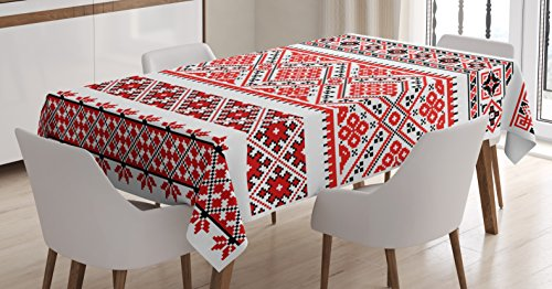 Ambesonne Art Tablecloth, Traditional Ukrainian Borders Frames Ornaments Old Fashioned Cultural Motifs, Dining Room Kitchen Rectangular Table Cover, 52