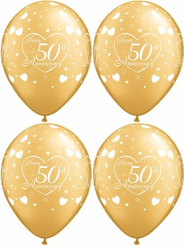 10 x 50th, Gold & White, Golden Happy Anniversary, Hearts Balloons - 11