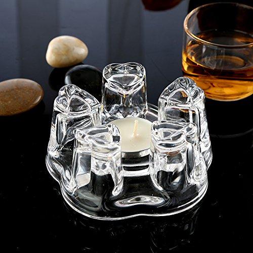 Funnytoday365 Glass Heart Shape Warmer Base 1X Heat-Resisting Glass Crystal Regular Teapot Coffee Water Tea Pot Warmer Heater